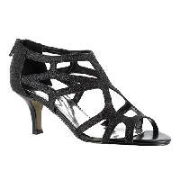 Easy Street Flattery Strappy Sandal- Black Glitter 10 M, Black Glitter