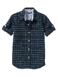 Gap Convertible Windowpane Shirt - Navy plaid