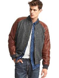 Gap Leather Varsity Jacket - Heather grey