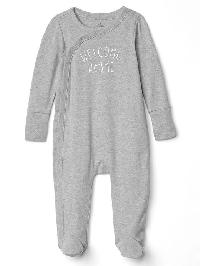 Gap Favorite Welcome Kimono Footed One Piece - Grey