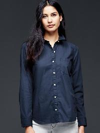 Gap Fitted Boyfriend Stretch Poplin Shirt - True indigo