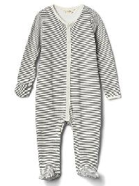 Gap Organic Striped Footed One Piece - Gray stripe