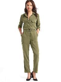 Gap Tencel Cargo Jumpsuit - Army jacket green