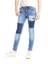 Gap 1969 Patchwork High Stretch Super Skinny Jeans - Denim