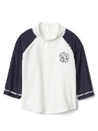 Gap Swim Club Long Sleeve Baseball Rashguard - New off white