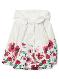 Gap Floral Border Raincoat - Ivory frost