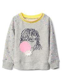 Gap Texture Graphic Raglan Sweatshirt - Girl