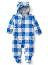 Gap Gingham Quilt Footed Bear One Piece - Blue streak