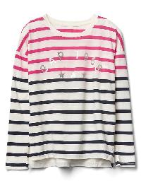 Gap Logo Striped Long Sleeve Tee - Ivory frost