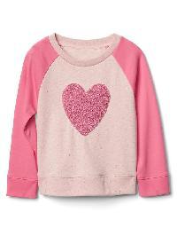 Gap Texture Graphic Raglan Sweatshirt - Big heart