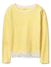 Gap Jacquard Lace Trim Top - Neon lemon