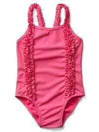 Gap Ruffle Trim Swim One Piece - Phoebe pink