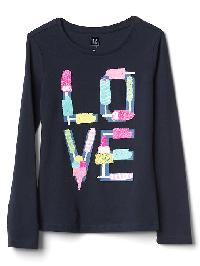 Gap Embellished Graphic Long Sleeve Tee - Blue galaxy