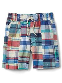 Gap Plaid Patchwork Pull On Swim Shorts - Dynamic blue