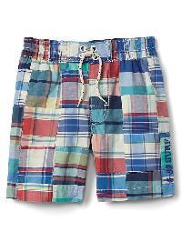 Gap Plaid Patchwork Pull On Swim Shorts - Dynamic blue