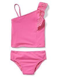 Gap Eyelet Asymmetrical Swim Two Piece - Neon light pink