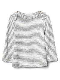Gap Favorite Stripe Long Sleeve Tee - Light heather grey
