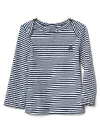 Gap Favorite Stripe Long Sleeve Tee - Navy heather