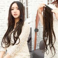 Elegant Style Soft Waves Heat Resistant Fiber Long Wig For Women - DEEP BROWN