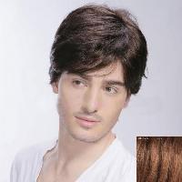 Assorted Color Short Capless Straight Virile Side Bang Human Hair Wig For Men - AUBURN BROWN