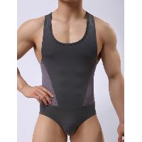 Skinny U Neck Panel Mesh Bodysuit - GRAY
