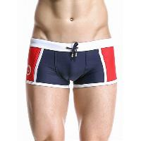 Casual Color Block Drawstring Waistband Design Swimming Trunks For Men - DEEP BLUE