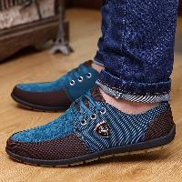 Lace Up Color Block Casual Shoes - BLUE
