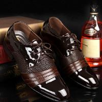 Hollow Out Lace Up Formal Shoes - BROWN