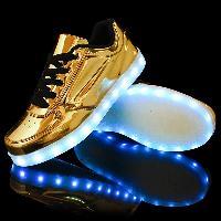 Metallic Finish Led Luminous Lights Up Casual Shoes - GOLDEN