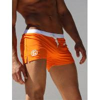 Pocket Design Drawstring Swimming Trunks - ORANGE