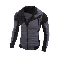 Color Spliced Long Sleeve Double Zipper Hoodie For Men - BLACK