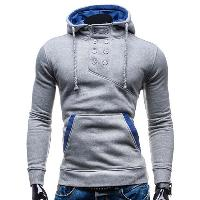 Slimming Hooded Stylish Double Breasted Pocket Hemming Long Sleeve Cotton Blend Men's Hoodie - LIGHT GRAY