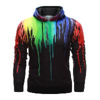 Drawstring Paint Dripping Hoodie - BLACK