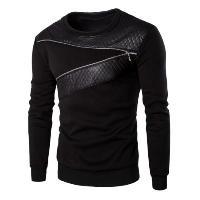 Casual Splicing Zipper Design Sweatshirt For Men - BLACK