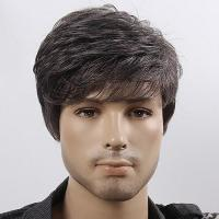 Vogue Black White Mixed Handsome Short Capless Fluffy Natural Wave Synthetic Wig For Men - COLORMIX