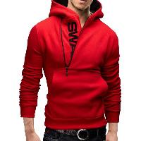 IZZUMI Long Sleeve Pocket Front Side Half-Zip Up Hoodie - RED