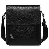 Simple PU Leather and Dark Color Design Messenger Bag For Men - BLACK