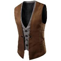 Plaid Insert Buckled Single Breasted Waistcoat - BROWN