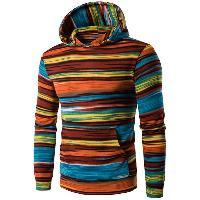 Hooded Colorful Stripe Print Long Sleeve Patterned Hoodies - ORANGE