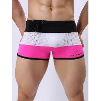Color Block Drawstring Mesh Swimming Trunks - PINK