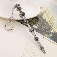 Key Chain Hanging Pendant Magic Wand Shape Keyring Movie Product for Bag Decoration - SILVER/BLACK