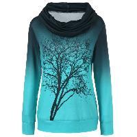 Cowl Neck Ombre Tree Print Sweatshirt - BLUE GREEN