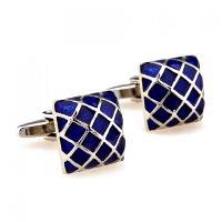 Pair of Stylish Gingham Shape Electroplate Alloy Cufflinks For Men - DEEP BLUE