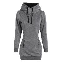 Slim Pockets Design Pullover Neck Hoodie - GRAY