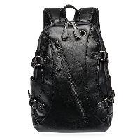 Zip Metallic Stitching Leather Backpack - BLACK