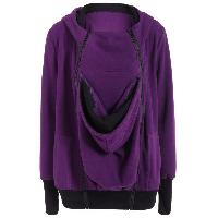 Inclined Zipper Baby Kangaroo Purple Hoodie - PURPLE