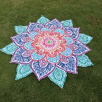Multicolor Indian Mandala Paisley Lotus Shape Beach Throw - BLUE