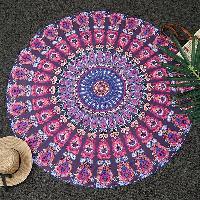 Bohemia Feather Mandala Print Round Beach Throw - DEEP PURPLE