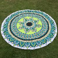 Flower and Leaf Print Round Beach Throw - GREEN