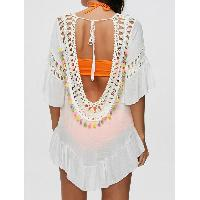 Colored Tassel See-Through Crochet Tunic Top - WHITE